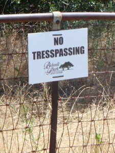 Spelling test — In summer 2010, more than a dozen of these signs were removed from the fence line along Upper Park Road.