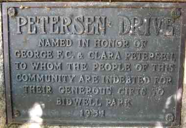 Plaque at the west end of Petersen Dr. near Sycamore Pool