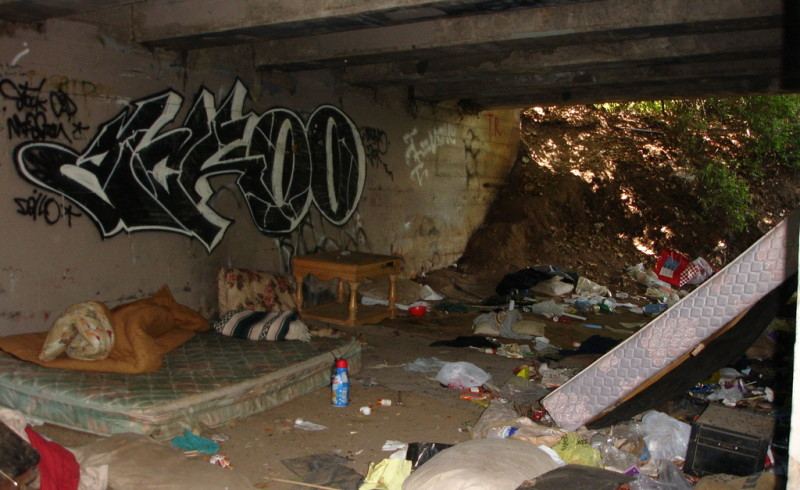 Homeless camp along Little Chico Creek